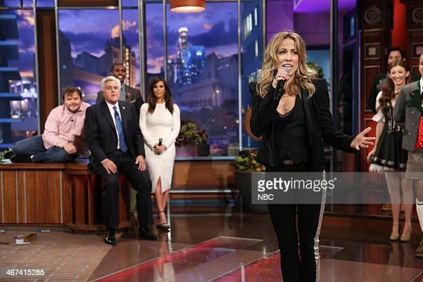 Jack Black host Jay Leno Chris Paul Kim Kardashian watch as Sheryl Crow performs during the Farewell Song on February 6 2014