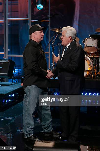 Musical guest Garth Brooks and host Jay Leno on February 6 2014