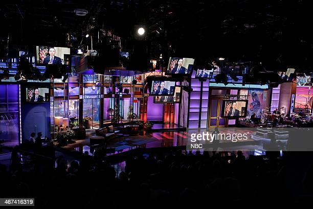 President Barack Obama pays tribute to host Jay Leno on February 6 2014