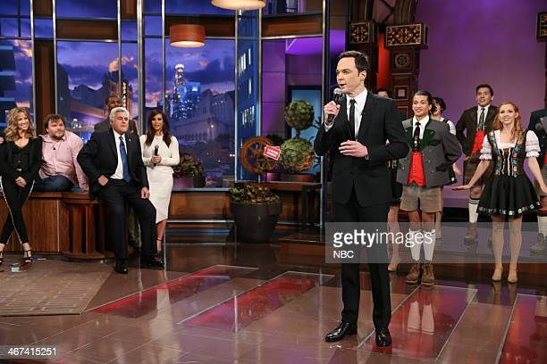 Sheryl Crow Jack Black host Jay Leno Chris Paul and Kim Kardashian watch as Jim Parsons performs during the Farewell Song on February 6 2014