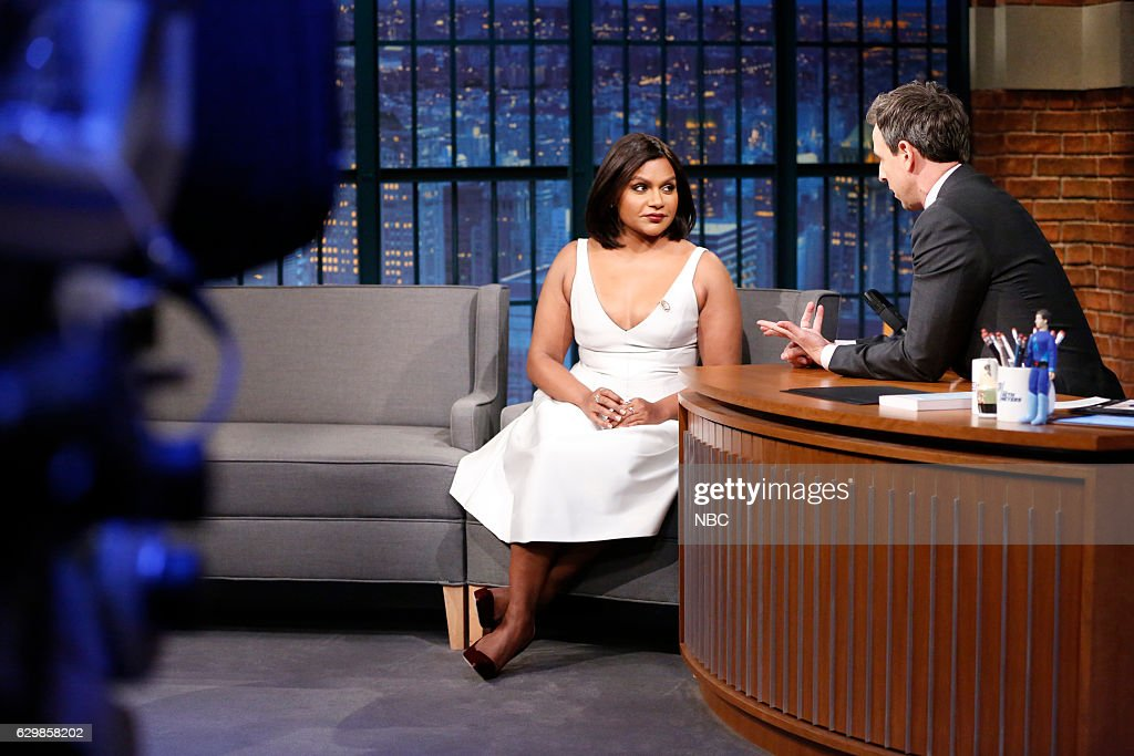 Actress Mindy Kaling During An Interview With Hos Seth Meyers On News Photo Getty Images