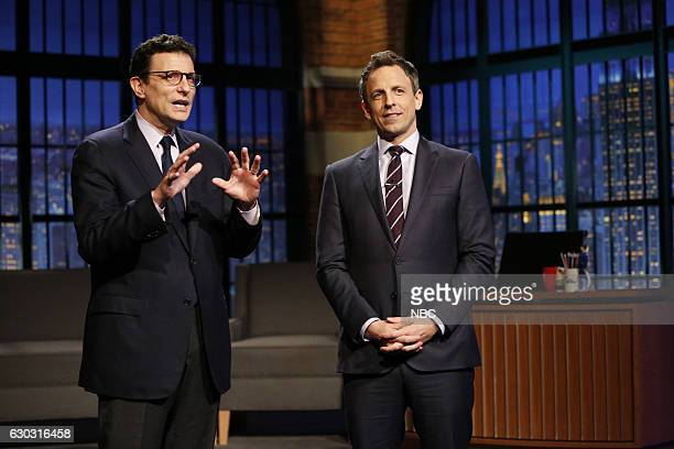 Editor of The New Yorker David Remnick and host Seth Meyers during the 'Live New Yorker Cartoon' sketch on December 20 2016