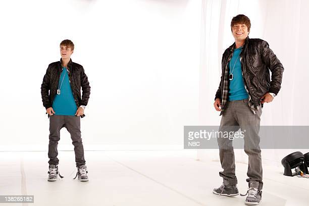 Episode 466 -- Pictured: Justin Bieber, Jimmy Fallon doing a pre-tape on 6/23/11 for June 24, 2011