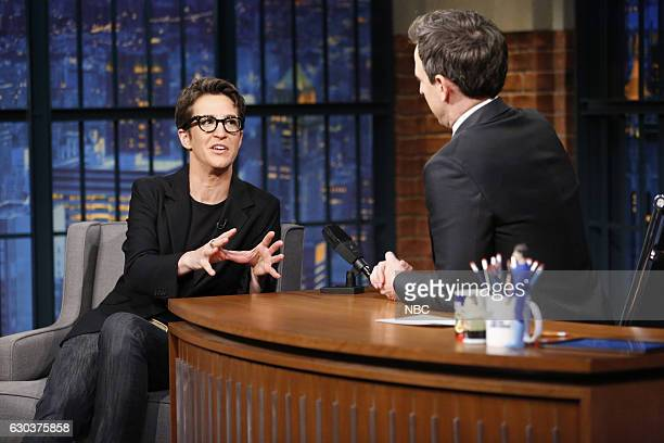 Political commentator Rachel Maddow during an interview with host Seth Meyers on December 21 2016