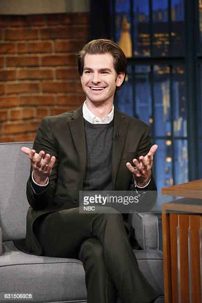 Actor Andrew Garfield during an interview with host Seth Meyers on January 11 2017