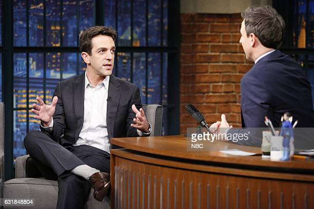 Actor BJ Novak during an interview with host Seth Meyers on January 16 2017
