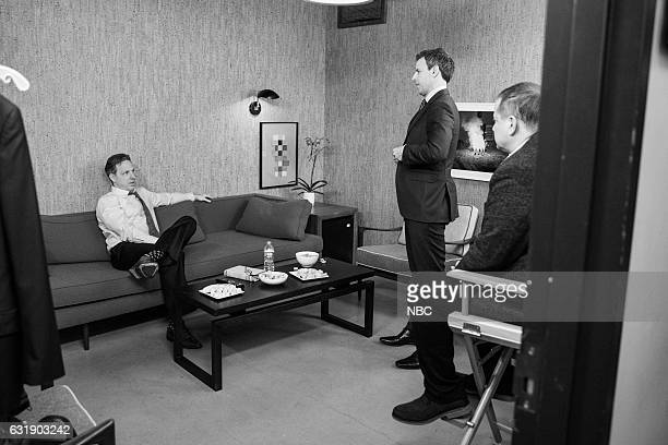MEYERS Episode 472 Pictured Journalist Jake Tapper talks with host Seth Meyers backstage on January 16 2017