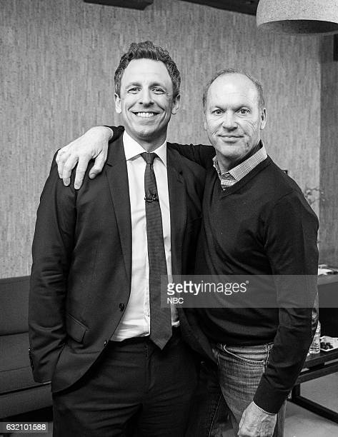 MEYERS Episode 474 Pictured Host Seth Meyers with actor Michael Keaton backstage on January 18 2017