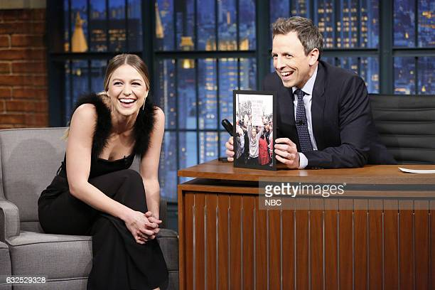 Actress Melissa Benoist during an interview with host Seth Meyers on January 23 2017