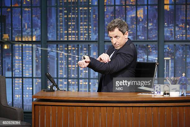 Host Seth Meyers during the 'At This Point In the Broadcast' sketch on January 23 2017