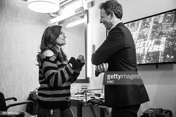 MEYERS Episode 476 Pictured Singer Idina Menzel talks with host Seth Meyers backstage on January 23 2017