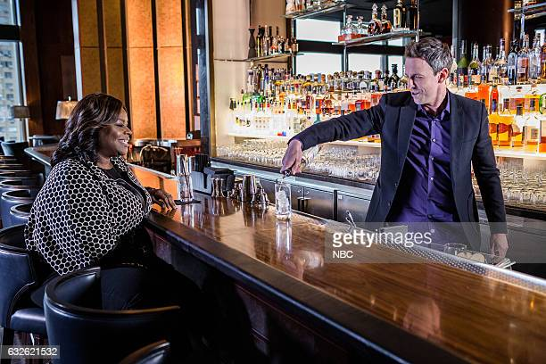 Retta and host Seth Meyers during 'Seth and Retta Go Day Drinking' on January 24 2017