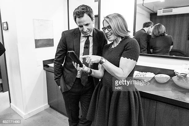 MEYERS Episode 478 Pictured Host Seth Meyers with journalist Katie Couric bakstage on January 25 2017