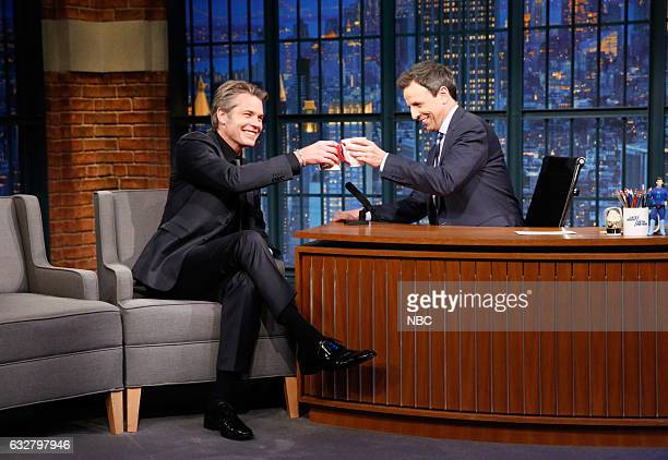 Actor Timothy Olyphant during an interview with host Seth Meyers on January 26 2017