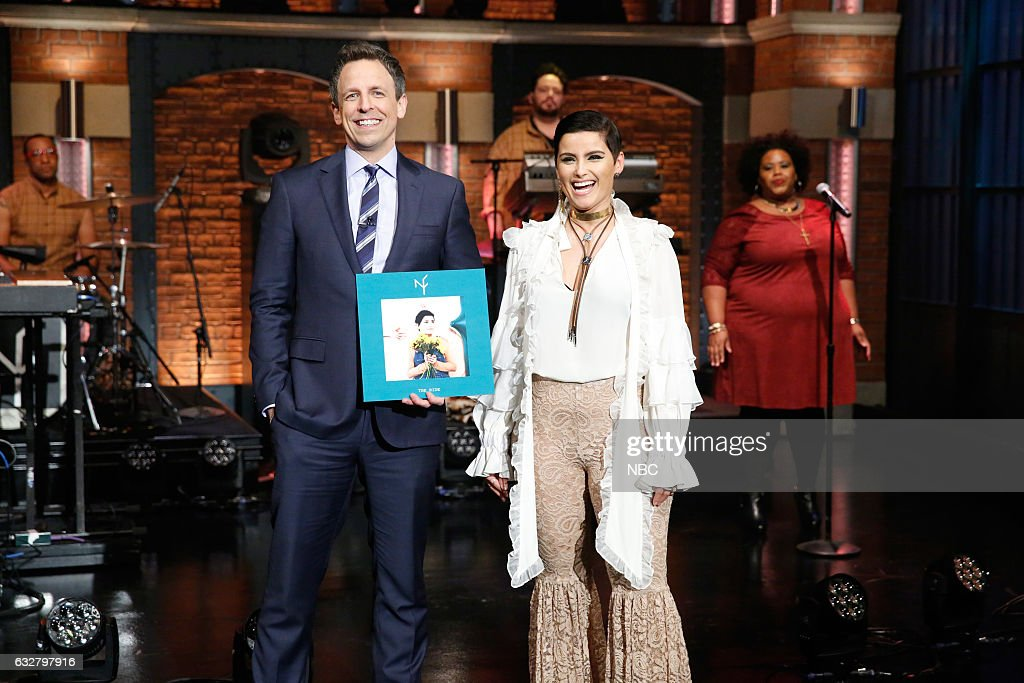 """NBC's """"Late Night With Seth Meyers"""" With Guests Timothy Olyphant, Lili Reinhart & Camila Mendes, Nelly Furtado"""