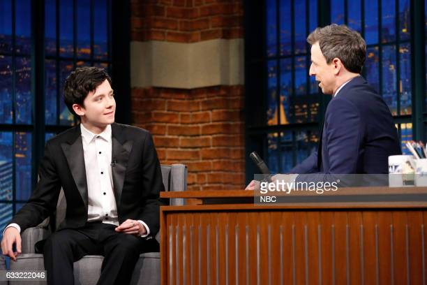 Actor Asa Butterfield during an interview with host Seth Meyers on January 31 2017