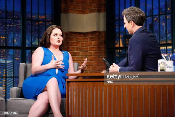 Actress Lauren Ash during an interview with host Seth Meyers on January 31 2017