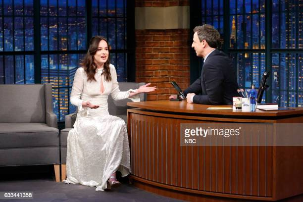 Actress Dakota Johnson during an interview with host Seth Meyers on February 1 2017