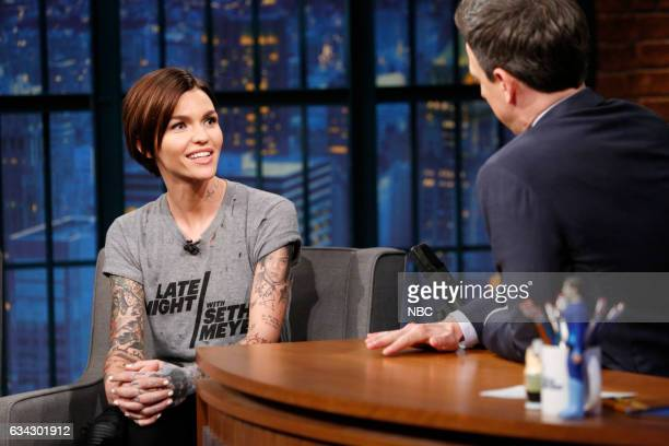 Actress Ruby Rose during an interview with Seth Meyers on February 8 2017