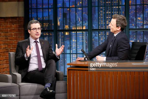 Episode 488 -- Pictured: 'Last Week Tonight' host, John Oliver, during an interview with host Seth Meyers on February 13, 2017 --
