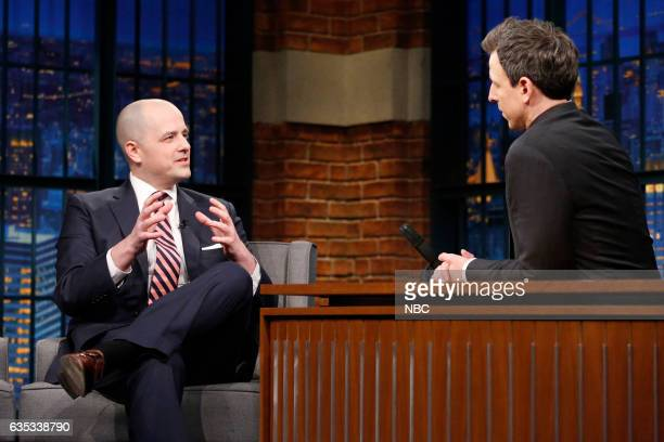 Former CIA operations officer Evan McMullin during an interview with host Seth Meyers on February 14 2017