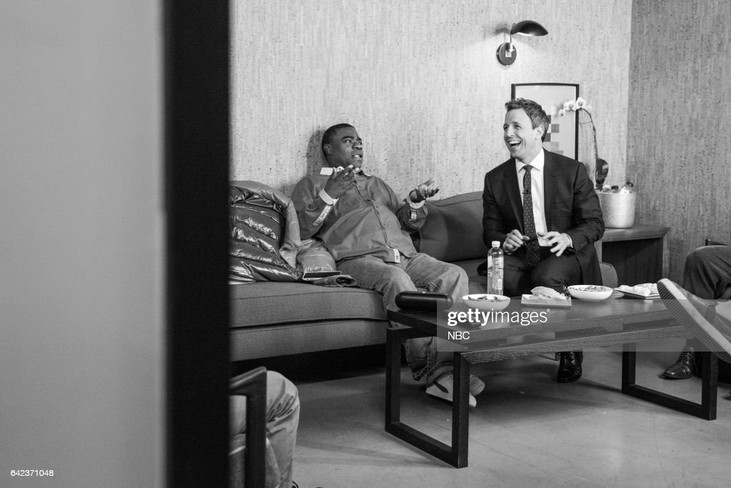 MEYERS -- (EXCLUSIVE COVERAGE) -- Episode 491 -- Pictured: (l-r) Comedian Tracy Morgan talks with host Seth Meyers backstage on February 16, 2017 --