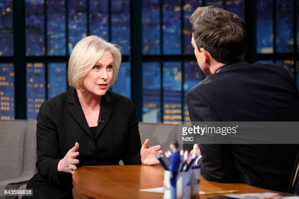 Episode 493 -- Pictured: Senator Kirsten Gillibrand during an interview with host Seth Meyers on February 21, 2017 --