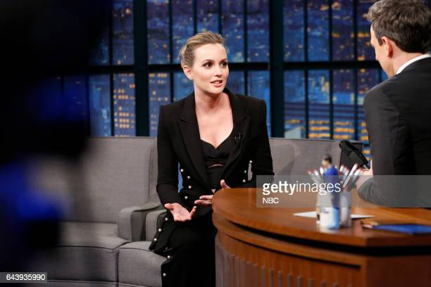 Actress Leighton Meester during an interview with host Seth Meyers on February 22 2017