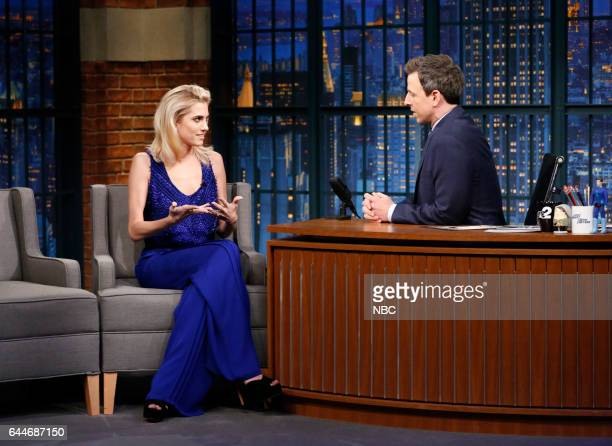 Actress Allison Williams during an interview with host Seth Meyers on February 23 2017