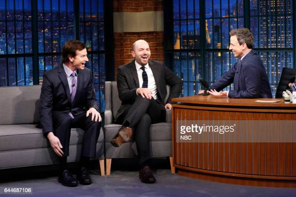 Comedians Paul Scheer Rob Huebel during an interview with host Seth Meyers on February 23 2017