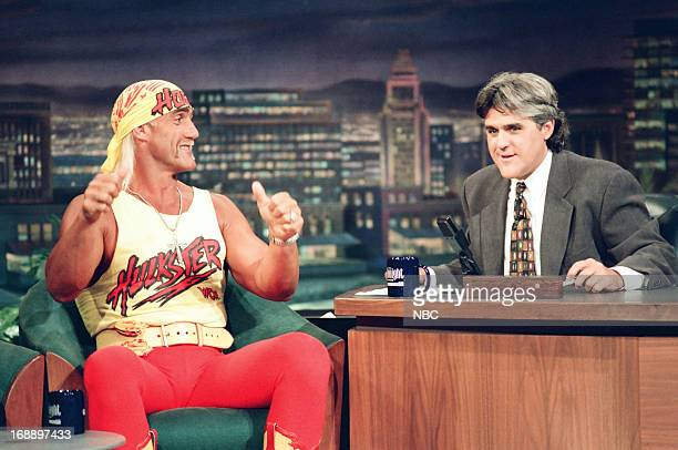 Wrestler Hulk Hogan during an interview with host Jay Leno on July 12 1994