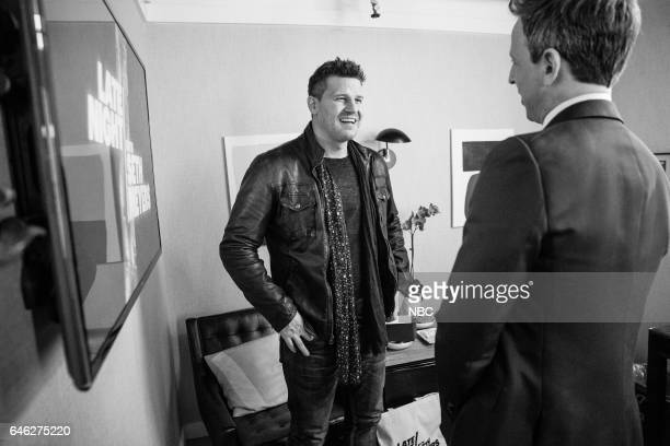 MEYERS Episode 496 Pictured Actor David Boreanaz talks with host Seth Meyers backstage on February 27 2017