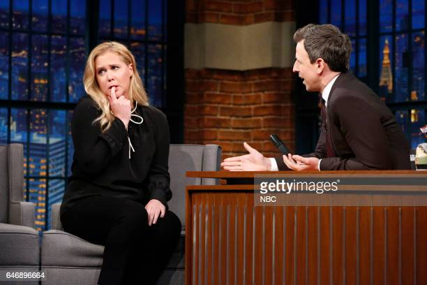 Comedian Amy Schumer during an interview with host Seth Meyers on March 1 2017