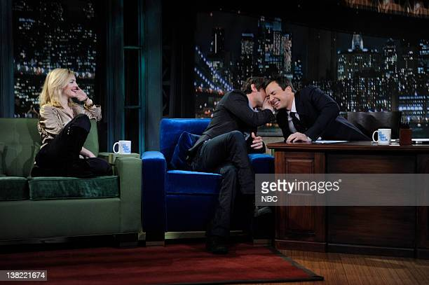 FALLON Episode 5 Airdate Pictured Actor Drew Barrymore Actor Chase Crawford during and interview with Jimmy Fallon on March 6 2009