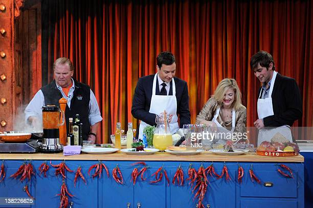 FALLON Episode 5 Airdate Pictured Chef Mario Batali Host Jimmy Fallon Actor Drew Barrymore Actor Chase Crawford during a cooking segment on March 6...