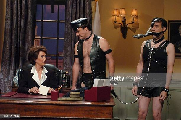 LIVE Episode 5 Aired Pictured Kristen Wiig as Nancy Pelosi Will Forte as Dana Fred Armisen as Filth during A Message from the Speaker Elect skit