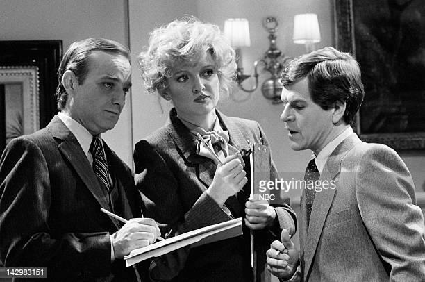 Brian DoyleMurray as secretary Christine Ebersole as Elaine Tim Kazurinsky as Jim during the 'Hail to the Chief' skit on November 7 1981 Photo by