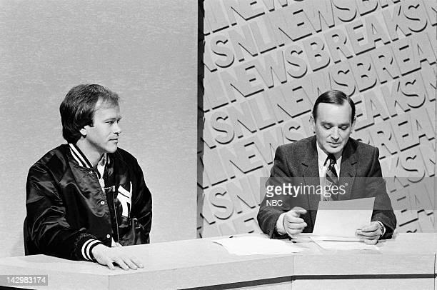 Executive producer Dick Ebersol Brian DoyleMurray during the 'SNL Newsbreak' skit on November 7 1981 Photo by
