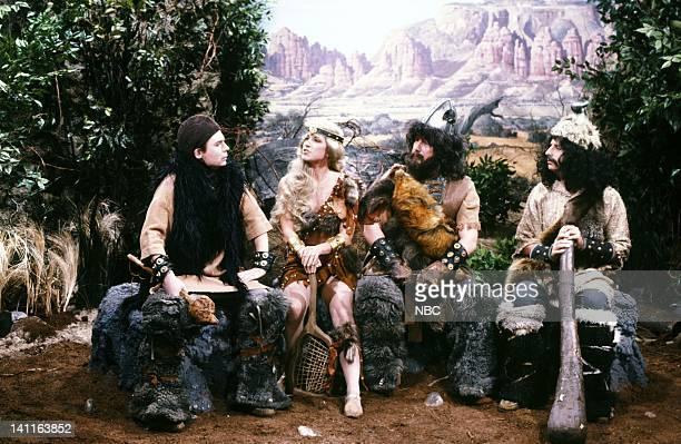 Mike Myers as Lothar Chris Evert as SheBeast Phil Hartman as Tyler Jon Lovitz as Org during the 'Lothar of the Hill People' skit on November 11 1989...