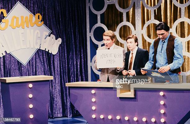 Episode 5 -- Pictured: Phil Hartman as Flip Mallory, Mike Myers as Matt Kendall, Jimmy Smits as Peter Running Dove during the 'Game Challengers' skit...