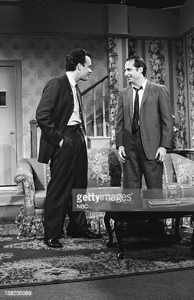 Tom Hanks as Earl Flanagan Jon Lovitz as Tommy Flanagan during Tommy at Home on December 14 1985