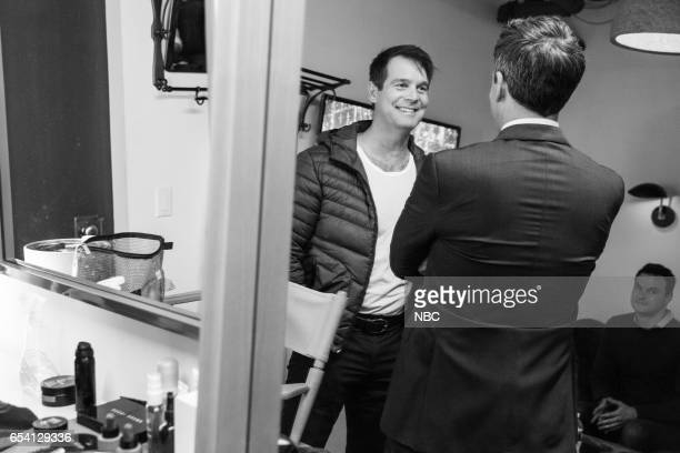 MEYERS Episode 502 Pictured Actor Peter Krause talks with host Seth Meyers on March 15 2017