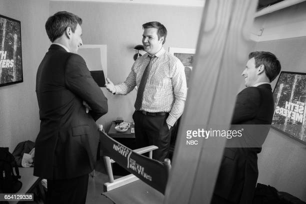 MEYERS Episode 502 Pictured Host Seth Meyers talks with author JD Vance backstage on March 15 2017