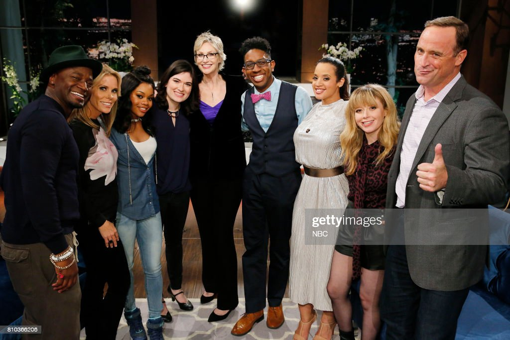 NIGHT -- 'TBD' Episode 505 -- Pictured: (l-r) Taye Diggs, Cheryl Hines, Gabby Douglas, Contestant, Jane Lynch, Contestant, Dascha Polanco, Natasha Lyonne, Matt Iseman --