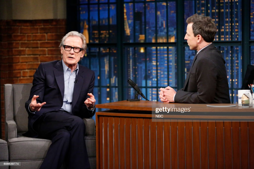 Actor Bill Nighy during an interview with host Seth Meyers on March 22, 2017 --