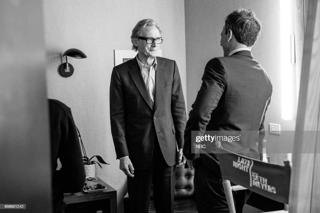 MEYERS -- (EXCLUSIVE COVERAGE) -- Episode 506 -- Pictured: (l-r) Actor Bill Nighy talks with host Seth Meyers on March 22, 2017 --