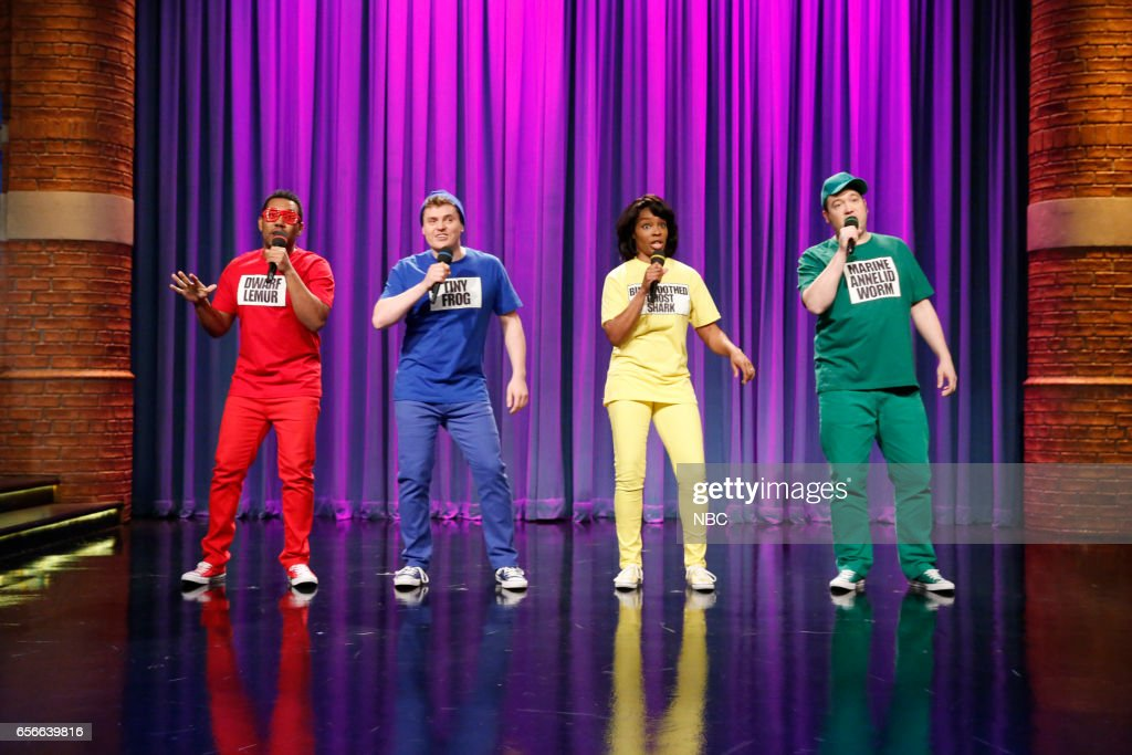 Tarik Davis, Ben Warhead, Amber Ruffin and John Lutz during the 'New Animals' sketch on March 22, 2017 --