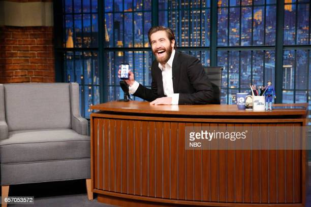 Actor Jake Gyllenhaal FaceTimes with actor Ryan Reynolds during a commerical break on March 23 2017