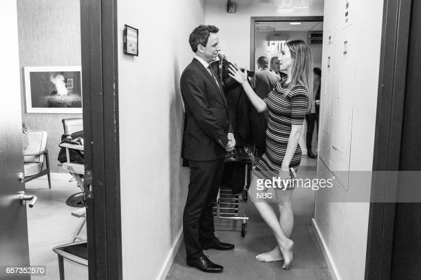 MEYERS Episode 507 Pictured Host Seth Meyers talks with comedian Whitney Cummings backstage on March 23 2017