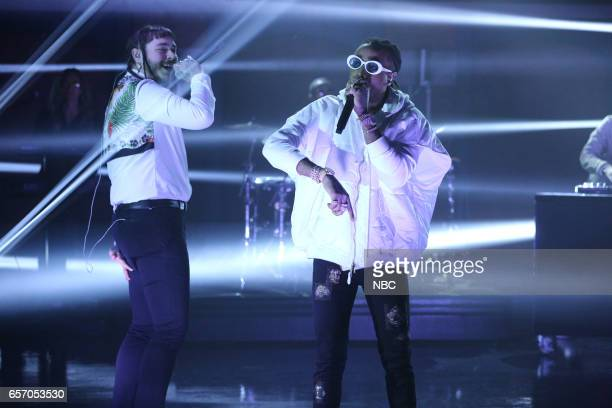 Musical guest Post Malone and Quavo perform on March 23 2017